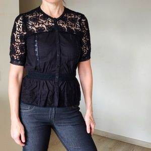 Black Cotton Blause, short sleeves, lace, embroidery